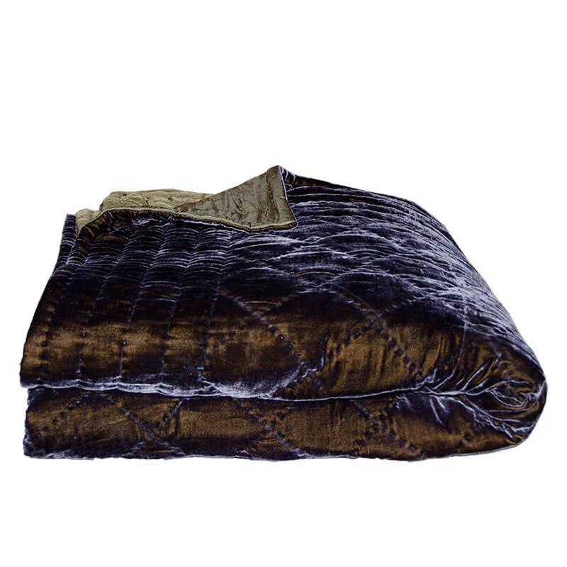 Enormt Quiltet silkevelour sengetæppe blå/grøn 240/220 cm - Floor45 PG18