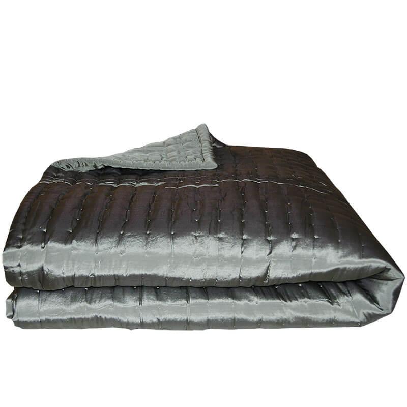 Seneste Quiltet silke Sengetæppe l Grøn/grå 270/270 cm - Floor45 DZ28